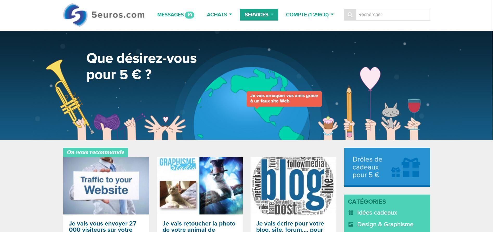 Gagner de l'argent sur Internet avec 5euros.com